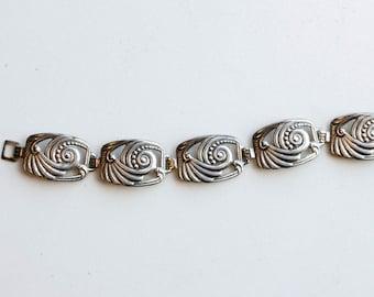 1920s art deco sterling link bracelet / 20s antique thin deco silver swirl square links bracelet