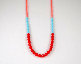 Red turquoise and coral colorblock necklace
