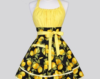 Flirty Chic - Womens Retro Apron in Black and Yellow Farmers Market Lemons Vintage Style Pin Up Kitchen Cooking Woman Apron