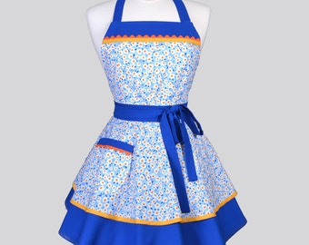 Ruffled Retro Womens Apron / Cute Floral in Sky Blue Yellow and Orange Vintage Style Pin Up Kitchen Apron Ideal to Personalize or Monogram