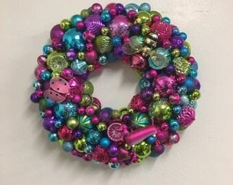 Adorable Christmas Holiday  Ornament Wreath - Pink, Green, Turquoise, Purple, Dog, Ladybug, Bee