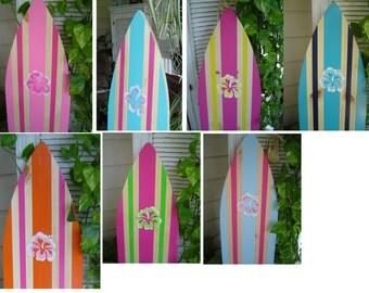 SUMMER SALE 4 FOOT Surfboard Hawaiian Surf wall art decor Sign / Custom Painted / Beach Wedding Sign in  Guest Book / Kids Girls