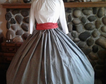 Reenactment Costume Civil War Colonial Prairie Pioneer Dress skirt sash and blouse-Womens 3Piece