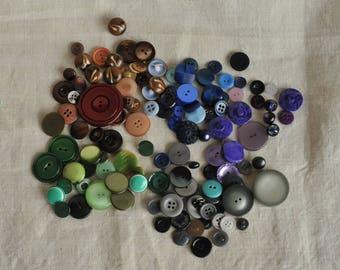 vintage plastic buttons multi color lot