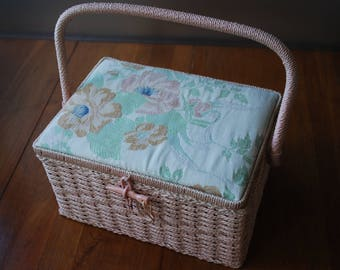 vintage pink wicker sewing basket with floral fabric lid - pink satin lining -  Sewing Supply - Cottage Chic