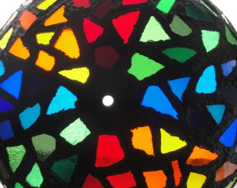 Vintage Stained Glass Pendant Shade Lamp