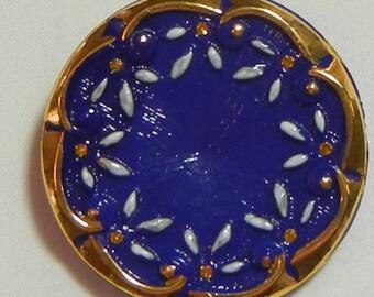Flower Wreath Czech Glass Button