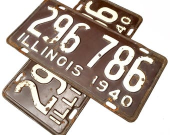 Vintage Illinois License Plate (1940)