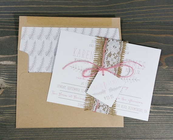 rustic wedding invitation, simple wedding invitation, vintage wedding invitation, burlap wedding invitation, lace wedding invitation
