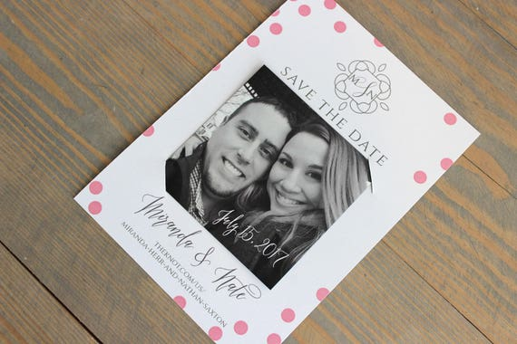 save the date magnet, polka dot save the date, monogram save the date, modern wedding, simple wedding, confetti wedding, pink dots, magnet