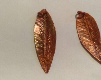Hand hammered copper dangle leaf pendant