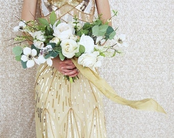 Cream and Antique Gold Vintage Style Wispy Boho Silk Flower Wedding Bouquet