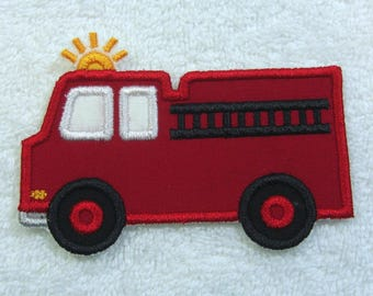Fire Truck Fabric Embroidered Iron on Applique Patch Ready to Ship