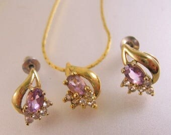 SALE ON Ends 4/30 Amethyst Rhinestone Pendant & Stud Earrings Set Vintage Jewelry Jewellery