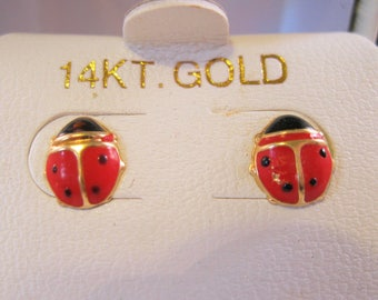 14k Ladybug Lady Bug Enamel Stud Earrings Estate Jewelry Jewellery