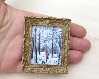 Miniature Original Acrylic Painting, Winter in forest, NOT A PRINT, Dollhouse painting