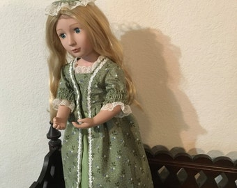 Regency Style Dress with Petticoat and Pinnear cap for 16 inch doll