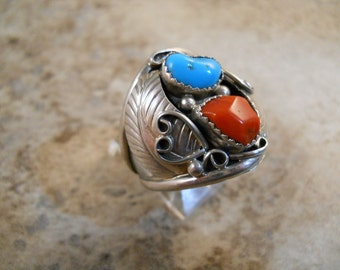 Turquoise Red Coral Silver Ring Size 12
