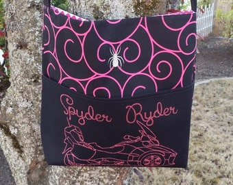 Can-am Spyder large cross body bag in pink and black swirls and pink glitter RT outline