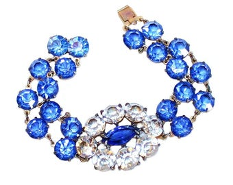 Deco-Era Faceted Glass Bracelet - 1920's Bracelet - 1930's Bracelet - Art Deco Jewelry - Faceted Stone Bracelet - Bridal Jewelry - Prom