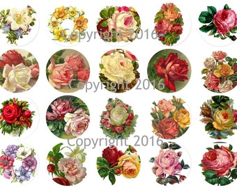 Printable Victorian  Roses Circles Collage Sheet. Instant Digital Download,  Flowers, Scrapbook Embellishments, Cupcake Toppers