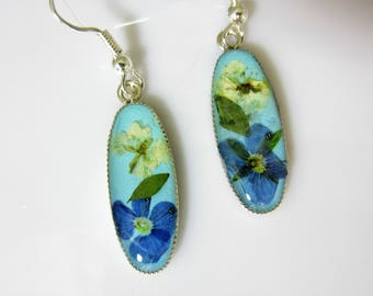 Veronica and Bridal's Wreath Earrings, Real Flowers,Resin, Pressed Flower Earrings (2060)