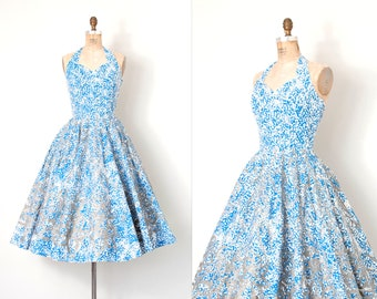 vintage 1950s dress | blue and silver grey floral print 50s halter dress | bombshell