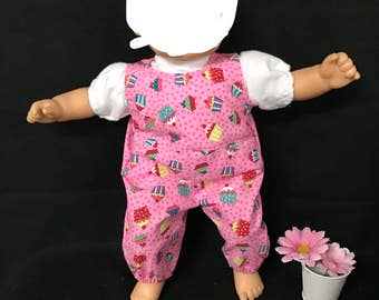 Doll Clothes For 15 Inch Dolls Handmade to Fit Like Bitty Baby Dolls Cupcake Party Birthday Cupcake Party Pink Cupcake Overralls and Shirt