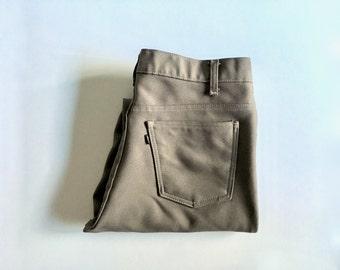 Vintage Men's 80's Tan Levi's Polyester, Pants, Straight Leg (W33 x L31 1/2)