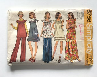 VIntage Sewing Pattern 70's Mostly Uncut, Simplicity 5756, Maternity Dress, Tunic and Pants (XS/S)