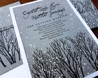 High Quality Winter Wedding Invitations Rustic Wedding Invitations Winter Wonderland Wedding  Invitations Gray Winter Wedding Invitations