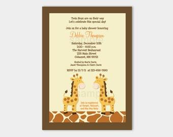 Twin Giraffes Baby Shower Invitation | Twins Baby Shower | Gender Neutral | Printable bs-002a