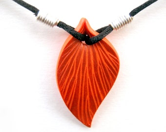 Sunset Orange Leaf Necklace, Copper Highlights, Polymer Clay Pendant, Sculpted Leaf, Black Cord, Silver Plated Wire, Customizable