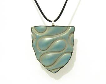 Iridescent Green Squiggle Shield Pendant on Black Satin Cord - Silver Plated Clasp - One of a Kind Birthday Gift for Her