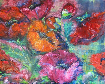 Original abstract poppy painting, abstract flower oil painting, 16 x 16 palette knife art, impasto oil flower painting, garden flower art