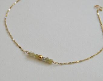 Green and White Gold Diamond Bracelet, diamond station bracelet, beaded bracelet, yellow diamonds, bar bracelet, gifts for moms