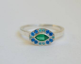 White Gold Marquis Ring, oval gemstone ring, green and blue gemstone ring, fan style ring, emerald, hauynite paraiba tourmaline ring, ring