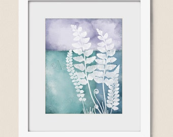 8 x 10 Print, Blue Aqua Wall Art, Botanical Art Print, Living Room Decor, Lavendar Nature Wall Art   (452)