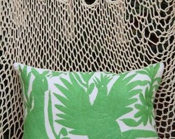 Lime green Folk Art Pillow Sham-Otomi Embroidery Ready to ship.