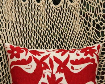 Deep red Folk Art Pillow Sham-Otomi Embroidery Ready to ship.