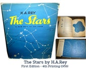 The Stars: A New Way to See Them by H.A.Rey. 4th Printing of the First Edition. 1956. Delightful  Star Gazing, Charming Drawings. All Ages.