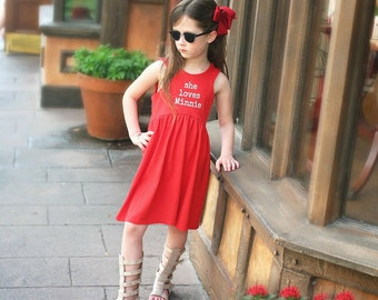 She loves Minnie Dress, Red and White