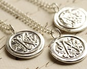 Old English Initial Wax Seal Necklace - Any Letter of the Alphabet - Fine Silver, Sterling Silver