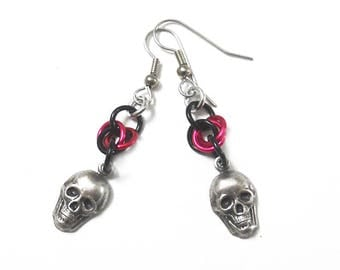 Pink skull earrings, Gothic skull jewelry, Pink and black chainmaille skull earrings