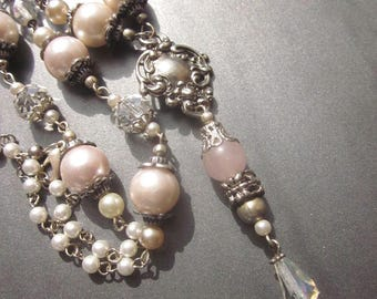 Assemblage Pearl Necklace One of a Kind Handmade Jewelry