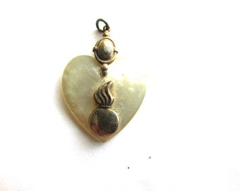 Mother Of Pearl Pendant Charm Heart Milagro Sacred Heart Supply Vintage Fraternity Sorority