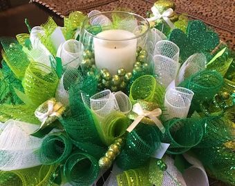 Ready To Ship St. Patrick's Candle Ring  , St. Patrick's Day Centerpiece ,  St. Patrick's Day Table Wreath , St. Patrick's Day Wreath