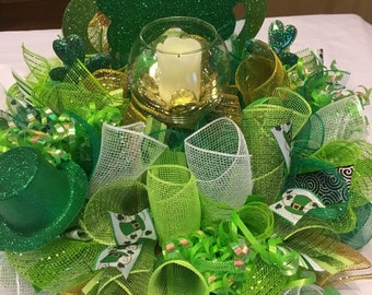 Ready To Ship St. Patrick's Candle Ring  , St. Patrick's Day Centerpiece ,  Pot of Gold Centerpiece Wreath , St. Patrick's Day Wreath