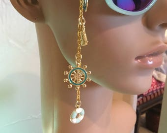 Tiffany Green Sunglasses with Charms , Beach Themed Charmed Sunglasses , Nautical Sunglasses