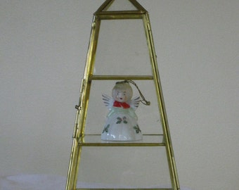 Vintage Brass and Glass Display Box for Miniatures, 3 Tier Pyramid Shape Mini Curio,